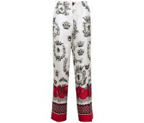 Woman Etere Printed Silk-twill Straight-leg Pants Off-white