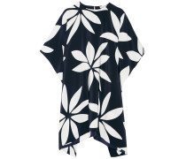 Kylie Draped Printed Silk Top Navy