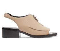 Alexa Textured-leather Slingback Sandals Champignon