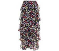 Jessika Gestufter Midirock aus Seiden-georgette mit Floralem Print