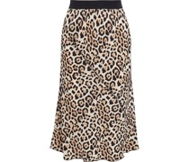 Leopard-print Silk-charmeuse Skirt