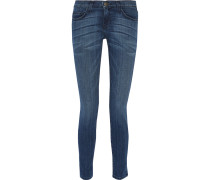 The Ankle Skinny Faded Mid-rise Skinny Jeans Mittelblauer Denim