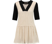 Crepe-paneled Crocheted Cotton Mini Dress Wollweiß