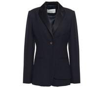 Layered Satin-trimmed Wool-piqué Tuxedo Jacket