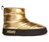 Metallic Quilted Shell Boots Gold