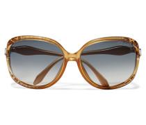Round-frame Metallic Leopard-print Acetate Sunglasses Gold
