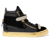 Leather-paneled Velvet High-top Sneakers Schwarz