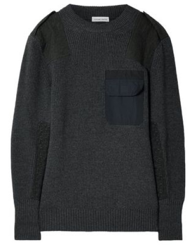 Twill-paneled Merino Wool Sweater Charcoal