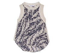 Vivi Printed Silk Top Navy