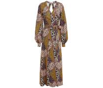 Kate Open-back Printed Woven Maxi Wrap Dress