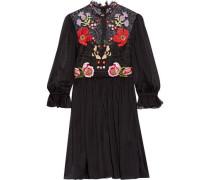 Mini Aura embroidered silk-blend chiffon and lace mini dress