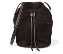 Polished-leather And Nubuck Bucket Bag Dunkelbraun