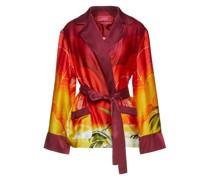 Giocasta Belted Printed Hammered Silk-satin Jacket