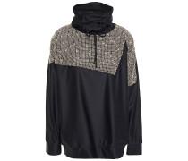 Paneled Metallic Open-knit And Stretch-jersey Sweatshirt