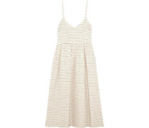 Striped basketweave cotton-blend midi dress