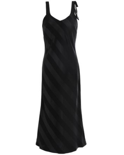 Dolores Striped Satin And Crepe Midi Slip Dress Black