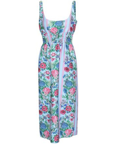 Gathered Floral-print Cloqué Midi Dress Azure