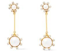 24 Kt. Verete Ohrringe mit Swarovski-kristallen und Kunstperlen
