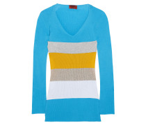 Color-block Ribbed Cotton Sweater