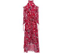 Cold-shoulder Floral-print Chiffon Dress