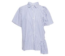 Gathered Striped Cotton-poplin Shirt