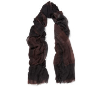 Fringed Printed Cashmere Scarf Mehrfarbig