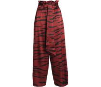 Zebra-print silk-blend satin wide-leg pants
