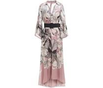 Verzierte Robe aus Georgette mit Floralem Print, Metallic-effekt und Gürtel