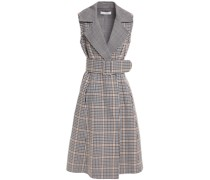 Flared Belted Gingham Wool-felt Midi Dress