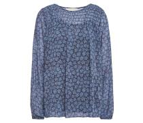 Woman Shirred Printed Georgette Top Blue