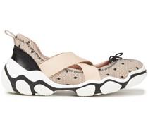 Sneakers aus Point D'esprit und Neopren mit Lederbesatz