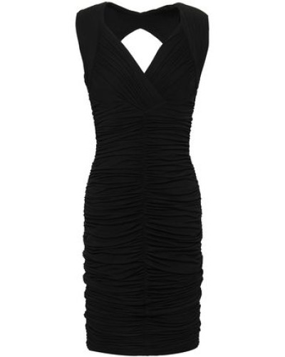 Cutout Ruched Jersey Dress Black