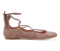 Elias Lace-up Suede Ballet Flats Taupe