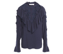 Broderie Anglaise-paneled Ruffled Crepe De Chine Blouse