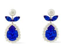 Silberfarbene Ohrringe mit Kristallen und Kunstperlen