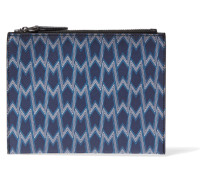 Printed Textured-leather Clutch Himmelblau
