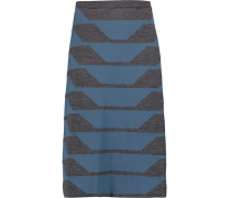 Two-tone Wool-blend Skirt Rauchblau