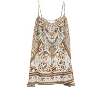 Woman Crystal-embellished Printed Silk Crepe De Chine Camisole Pastel Yellow