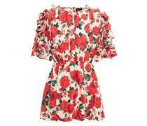 Lleida Ruffled Floral-print Washed-silk Mini Dress