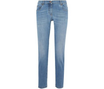 Distressed low-rise straight-leg jeans