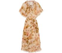Resistance Tiered Tie-neck Floral-print Silk-georgette Midi Dress