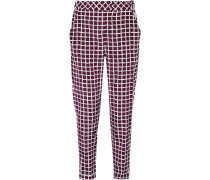 Printed Wool And Cotton-blend Straight-leg Pants Merlot