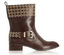 Maddox Eyelet-embellished Leather Ankle Boots Schokoladenbraun