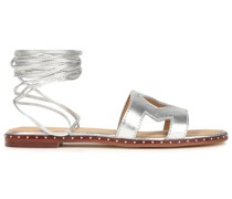 Sandalen aus Metallic-leder mit Cut-outs und Nieten