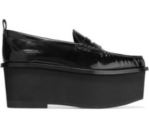 Platform loafers in black patent-leather