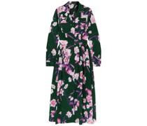 Pleated Floral-print Cotton-poplin Midi Dress