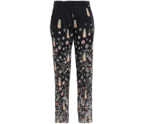 Printed Wool-mousseline Slim-leg Pants
