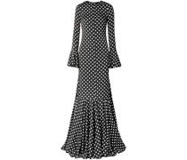 Allonia ausgestellte Robe aus Satin aus Einer Seidenmischung mit Polka-dots