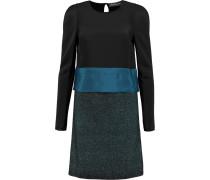 Silk-paneled Knitted Mini Dress Schwarz