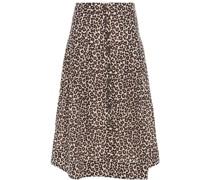 Leopard-print Ramie Skirt